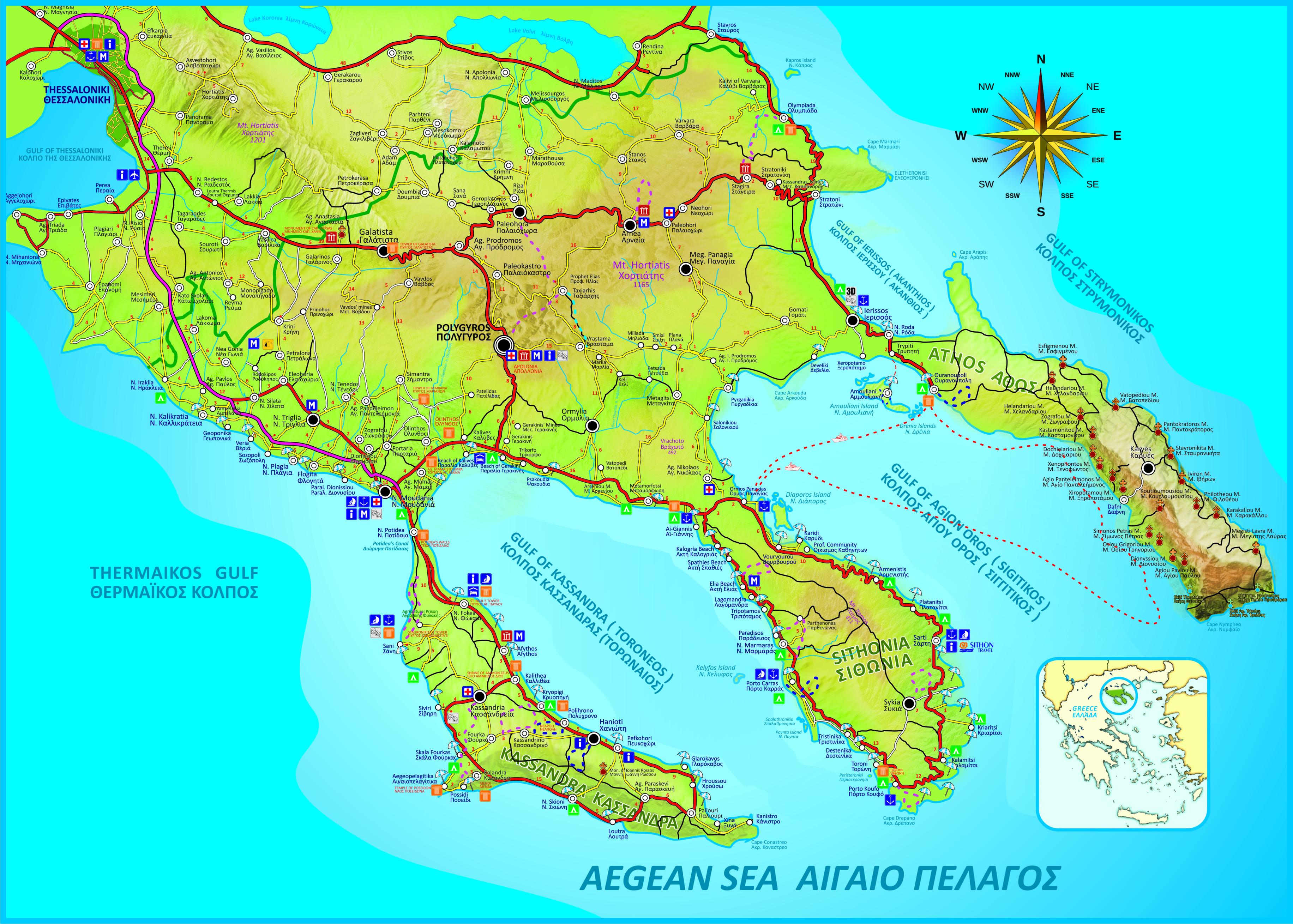 Sarti Halkidiki Maps Sithonia Beaches Map Mount Athos Map