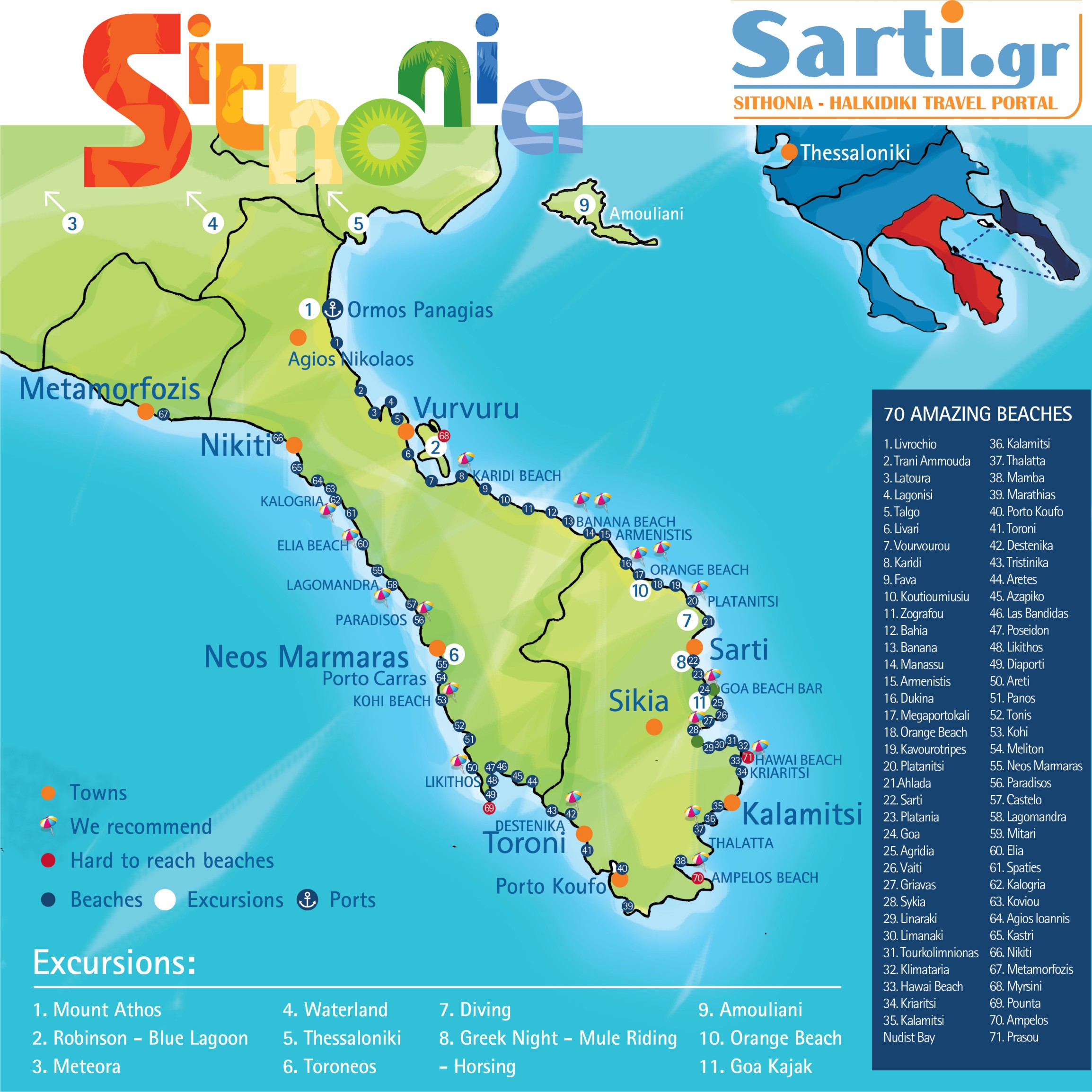 mapa grcke sitonija Sarti Halkidiki maps, sithonia beaches map, mount athos map mapa grcke sitonija